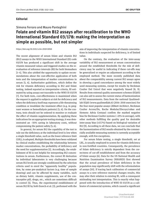 Folate and vitamin B12 assays after recalibration to the WHO International Standard 03178 making the interpretation as simple as possible but not simpler
