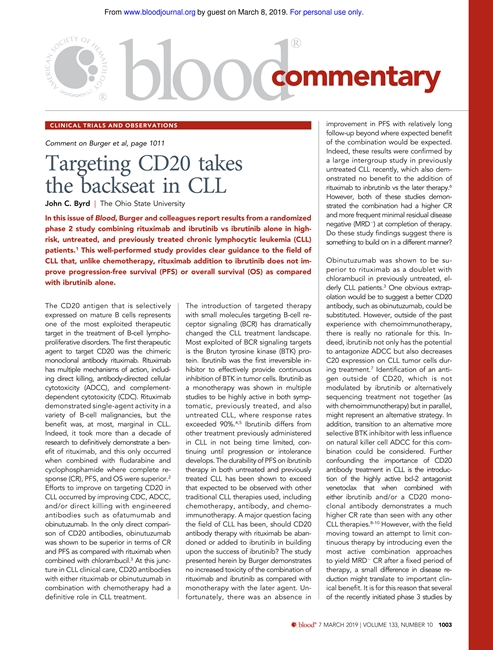 Targeting CD20 takes the backseat in CLL