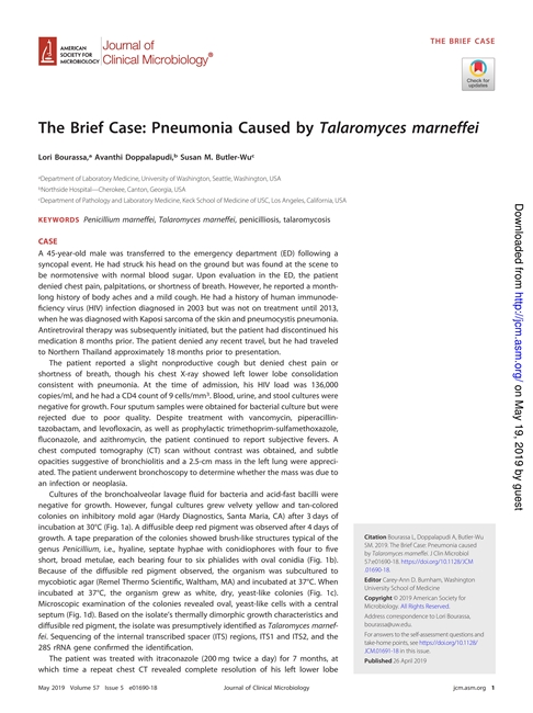 The Brief Case Pneumonia Caused by Talaromyces marneffei