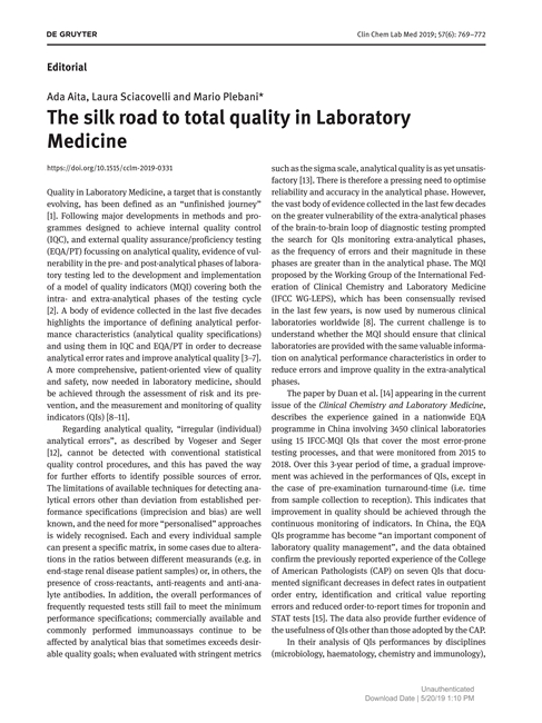 The silk road to total quality in Laboratory Medicine